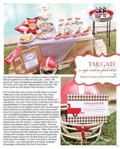 Tailgating ideas. This came from an adorable magazine called the Party Dress Magazine.