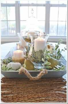 Coastal Cottage , tray of votives & leaves . A Simple Centerpiece .