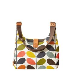 Orla Kiely: Matt laminate midi sling bag with grey large linear stem cotton twill lining. With large slit pocket to front. Inside details include zip and mobile pockets and key chain. Magnet closure. Webbing tape handles reinforced with stamped natural vegetable tan leather. Adjustable webbing tape strap that allows the bag to worn as a shoulder bag or across the body (max length 41in).        Please avoid direct contact with dark clothing and denim as color may be transferred.