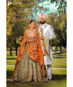 Bride Outfit by:- Groom outfits by - Jewellery by - Makeup… You are in the right place about Groom Outfit traditional Here Sikh Wedding Dress, Punjabi Wedding Couple, Muslimah Wedding Dress, Wedding Couples, Bridal Dresses, Punjabi Couple, Wedding Pics, Wedding Ideas, Farm Wedding
