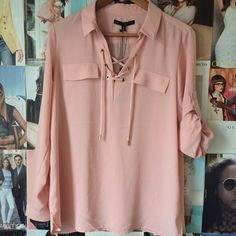NEWHarve Benard lace up popover tunic Pretty in peach! The soft color, the roll up sleeves, the lightweight material and the lace up open neck make this tunic chic AND comfortable. Small gold metal buttons on the sleeves and accents on the laces. Two pocket flaps (no pockets.) NWT. Harve Benard Tops Tunics
