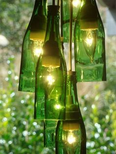 wine bottles  recycle  hanging light