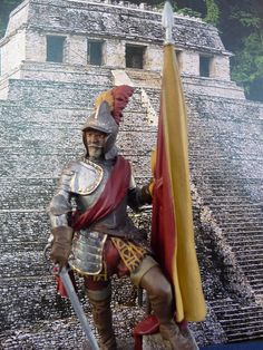 This figure depicts the conquistador Hernan Cortes during his campains in the new world in the 16th century. The white metal kit is from Pegaso Models in ...