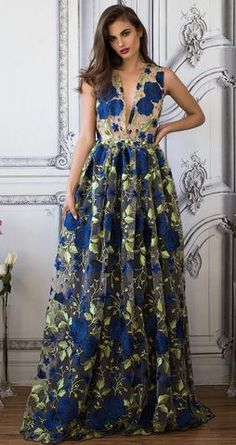KATE FLORAL GOWN (Blue)