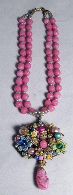 RARE Vintage Miriam Haskell Pink Glass Bead Necklace w Pendant   eBay