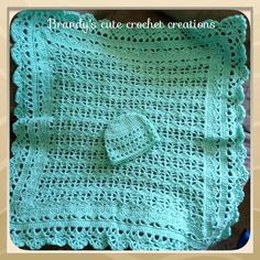 Mint green crochet baby blanket with matching hat