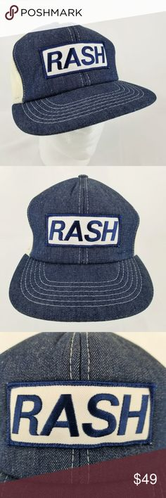9d9a6ada3c3 Vintage RASH Denim Trucker Hat Logo Patch Snapback RASH logo patch vintage  denim snapback trucker hat