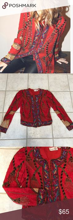 Stunning Laurence Kazar beaded jacket!! Stunning vintage Laurence Kazar beaded jacket!  Cropped!!  Beads are in fantastic shape!  Jacket is a shorter version of the first picture.  Eyelet hooks in front.  Pictures do this jacket no justice!  Perfect for Christmas or New Years!!  Will provide more pics if needed.  Please check my love notes.  I am a fast shipper and will answer any question you may have. laurence kazar Jackets & Coats