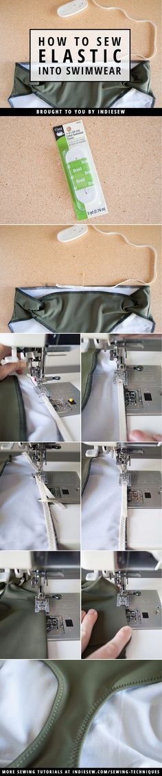 For smooth elastic finishes on your handmade swimwear, try the safety pin method! | Indiesew.com #fashionsewing,