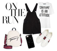 """""""On the Run"""" by andrea-valdes16 on Polyvore featuring moda, Tommy Hilfiger, Moschino, Monki, Gucci y Casetify"""