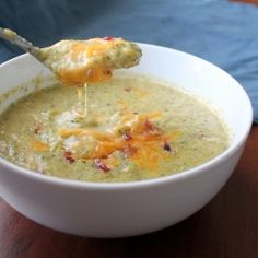 Cream of Broccoli Soup with Cheddar - so creamy, but it's actually healthy!  With nutritional information