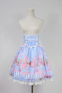 soufflesong 原创 lolita茶会兔系列 印花高腰半裙 SK-淘宝网全球站