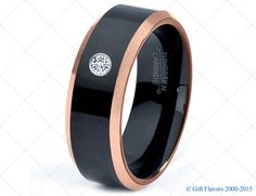 Black Tungsten Ring 18k Rose Gold Black Band Black by GiftFlavors