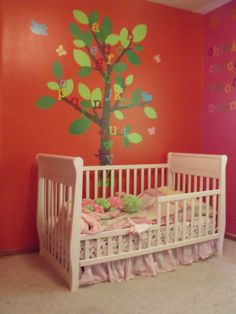 "Spotted: our Dotted Tree in this ""Chicka Chicka Boom Boom"" themed nursery (I used to LOVE that book!)."