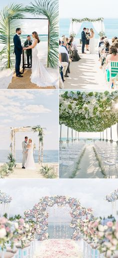 images showing five different wedding venues all near the sea decorated with flowers palm leaves or floaty white fabric florida destination weddings arches and chairs couples holding hands Wedding Destination, Boho Beach Wedding, Romantic Beach, Beach Weddings, Seaside Beach, Bali Wedding, Beach Wedding Arches, Trendy Wedding, Rustic Wedding