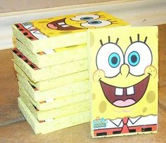 Spongebob Birthday Invitations Made From Sponges Face Party Ideas Crafts