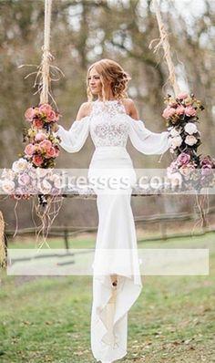 Long-Sleeves Lace Elegant Chiffon Mermaid Wedding Dress 001