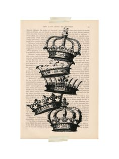 dictionary art print - STACKED CROWNS - upcycled book page art. $9.00, via Etsy.