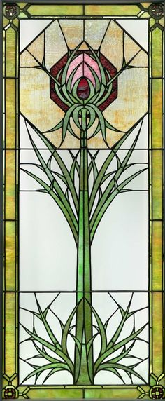 """""""Thistle"""" window 1901 Designed by George Washington Maher, American, 1864–1926 Americanand Louis Millet, American, 1856–1923"""