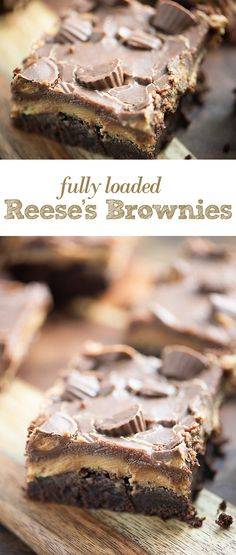 These thick, fudgy brownies are topped with a thick peanut butter frosting, extra chocolate, and some Reese's candies. They're a peanut butter lovers favorite brownie!