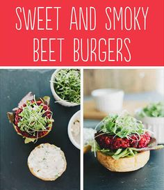 Tasty vegan Hamburger Alternatives That Are Actually Good For You: Sweet and Smoky Beet Burgers. Raw Food Recipes, Veggie Recipes, Vegetarian Recipes, Cooking Recipes, Healthy Recipes, Burger Recipes, Beet Burger, Vegan Burgers, Tasty Burger