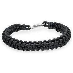 Armband Rabinovich - Mix & Match - Leer zwart gevlochten