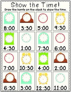Show the Time! FREE 1st Grade Common Core Worksheet (Time to the hour and half hour). Draw the hour and minute hand on each clock. 1.MD.3 Telling Time
