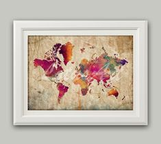 Items similar to World Map Print Colorful 4 Watercolor World Map Wall Art Map Gift Wall Art Vintage Style Map Living Room Wall Art Travel Art Map Wall Poster on Etsy World Map Poster, World Map Wall Art, Map Art, Art World, Wall Stickers Quotes, Water Color World Map, New Wall, Wall Tapestry, Watercolor Art