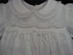 first darling nightgown my little ones had looked like this on top, scalloped overlay over lace bodice, then gathered skirt.