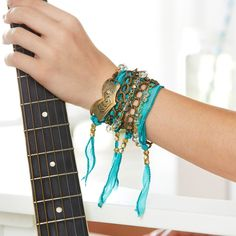 Get summer ready and make this festival chic DIY Metal and Turquoise Wrap Bracelet