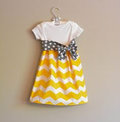 Boutique baby clothing, Gray and yellow chevron infant dress with by SweetStrawberryShop, $26.00
