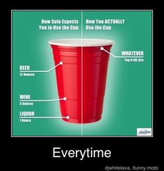 Red Solo cup,I fill you up. Let's have a party!