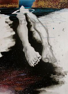 """Mehrnaz Rohbakhsh; Oil, 2011, Painting """"Flowing Downstream"""""""