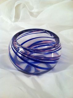 Hand Blown Glass Bowl With Spirals of Ribbon Cane by MoltenColor, $115.00
