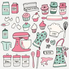 CLIP ART: Baking Set // Photoshop Brushes // Hand Drawn Elements // Kitchen Culinary Food Baker Conf Source by aniaminda - Scrapbook Recipe Book, Recipe Book Design, Cake Clipart, Sketch Note, Baking Logo, Doodles, Clip Art, Bullet Journal Ideas Pages, Photoshop Brushes