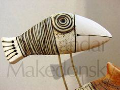 Bird on house - Original ceramic sculpture  Aleksandar Makedonsky