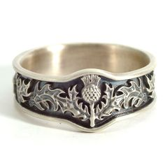 Scottish Thistle Jewelry, 925 Sterling Silver Thistle Ring, Unique... ❤ liked on Polyvore featuring jewelry