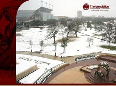 Texas A & M University Aggies. A picture from the roof of the Clayton W. Williams, Jr. Alumni Center, looking down on campus during the February 2011 dusting.