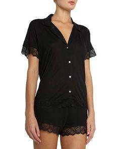 Eberjey+Adeline+Lace+Trim+Short+Pajamas+Set+Black+|+Underwear,+Pants+and+Clothing