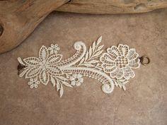 Magnolia ivory lace bracelet by StitchFromTheHeart on Etsy, $25.00