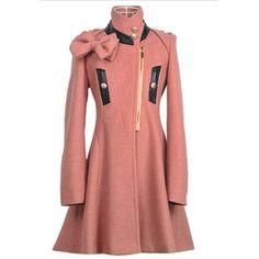 Párese Bow Collar Slim Fit Decorado manga larga Mujeres Abrigo de lana Fabric para Vender - La Tienda En Online IGOGO.ES