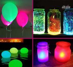 ideias criativas para festa neon - Pesquisa Google