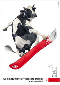 Swissmilk ad - snowboarding cow