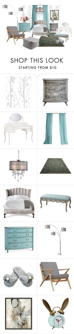 """In the Bedroom"" by oksanayusupova ❤ liked on Polyvore featuring interior, interiors, interior design, home, home decor, interior decorating, PBteen, Blue Area, Haute House and Redford House"