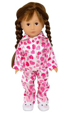 These satin heart print pyjamas are so adorable. They fit the Wellie Wisher, Disney Toddler, Corole Les Cherie and Gotz Just Like Me and other 14 inch slim dolls. The pant legs are a little long on the Gotz Just Like Me doll (see photo). Boy Doll, Girl Doll Clothes, Girl Dolls, American Girl Wellie Wishers, Wellie Wishers Dolls, Cabbage Patch Kids, Doll Shoes, Heart Print, Pyjamas