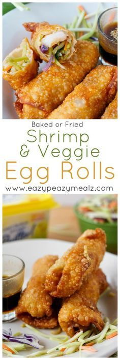 Home Made Doggy Foodstuff FAQ's And Ideas Shrimp And Veggie Egg Rolls: These Can Be Baked Or Fried And Have A Secret Ingredient That Makes Them Extra Crunchy And Delicious Skip Take Out, Make These Babies - Eazy Peazy Mealz Seafood Dishes, Seafood Recipes, Appetizer Recipes, Cooking Recipes, Italian Appetizers, Appetizer Dessert, Dessert Recipes, Veggie Egg Rolls, Shrimp Egg Rolls