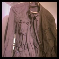 Womens olive/khaki buckle jacket Light zip-up jacket, lots of buttons and buckles! Very cute. Built-in belt is adjustable. LOFT Jackets & Coats