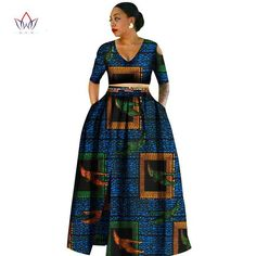 Image of African clothes for women,Tradition Two Piece Africa Clothing Designs, Plus Size Dashiki African for women African Print Dresses, African Fashion Dresses, African Attire, African Wear, African Women, African Dress, Fashion Outfits, Fashion Ideas, African Style