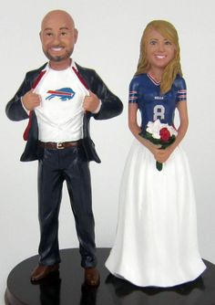 Classic Superhero Sports Jersey Couple Cake Topper Buffalo Bills Football Wedding Cake Toppers - custom sculpted to look like you with your choice of team, colors, numbers and names!