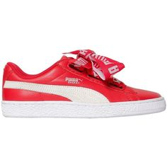 Puma Select Women Basket Heart Leather Sneakers (1.625 ARS) ❤ liked on Polyvore featuring shoes, sneakers, red, puma shoes, puma trainers, rubber sole shoes, red heart shoes and red shoes